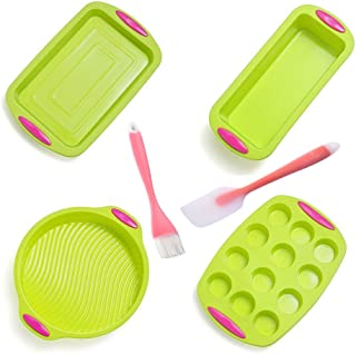 6 Piece Nonstick Bakeware Set - Silicone Baking Sheet of Muffin Pan, Large Baking Pan, Loaf Pan and Round Cake Mold with Pink Handle Grips, Beautiful Translucent Spatula and Brush with Angled Head