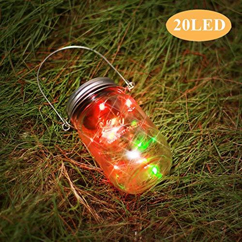 Solarleuchte Mason Jar Licht Fee Licht LED Wasserdicht Glasgläser Solarlampe im Einmachglas Hängeleuchten Weihnachts Garten Party Decoration Aussen Light (Bunt)