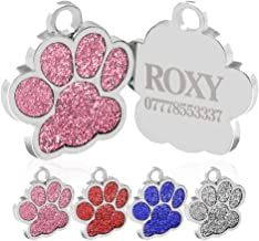 Howson London Personalised Engraved Pet ID Tags Zinc Alloy 25mm Glitter Bling Paw Print Tag Dog Cat ID Tags Pretty Gift For Your Pets