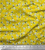 Soimoi Gelb Seide Stoff Blätter & Magnolie Blumen- Drucken
