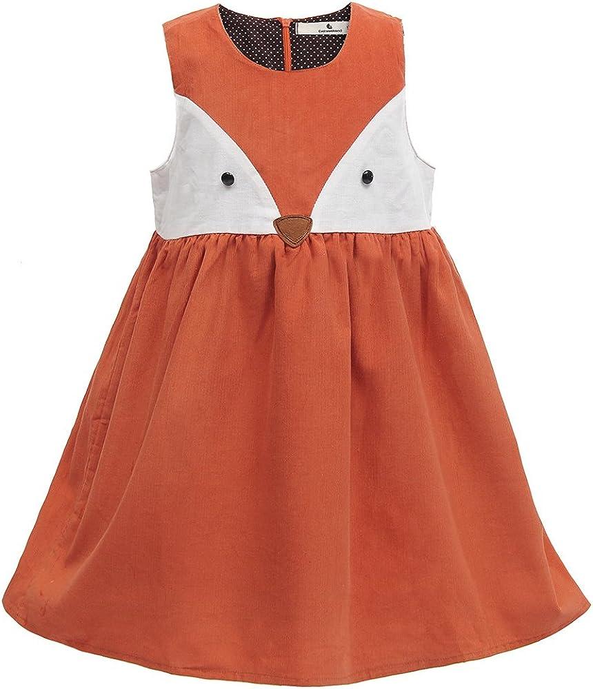 Sweet Girls Fox Dress Spring Fall San Jose Mall Corduroy Cartoon New product type Ruffles Cotto