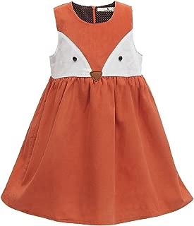 Sweet Girls Fox Dress Spring Fall Corduroy Ruffles Cartoon Cotton Dress