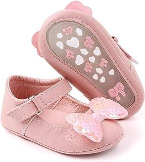 Meckior Infant Baby Girls Boys Handmade Princess Flats Toddler First Walkers Soft PU Leather Non-Slip Crib Wedding Dress S...