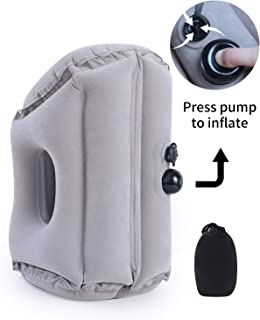 MOST ORIGINAL DESIGNM Inflatable Travel Pillow, Airplane Portablle Pillow, Head Neck Rest Pillow with A Carry Pouch (Grey)