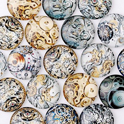 20 piezas de cabujones de 20mm con parte trasera plana, con estilo steampunk y engranaje de reloj, cristal redondo, en forma de cúpula