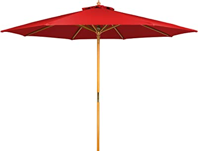 9' Wood Frame Patio Umbrella by Trademark Innovations (Red)