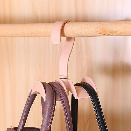 ハンドバッグ用ハンガー ネクタイ ハンガー クローゼット ネクタイ収納 かばんかけ ベルトハンガー 360°回転 3個入り (ランダムな色)