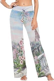 XiangHeFu Pantaloni Pigiama da Donna, Pantaloni da Yoga, Leggings con Fondo, Pantaloni da Salotto a Vita Alta, Fiore e Tor...