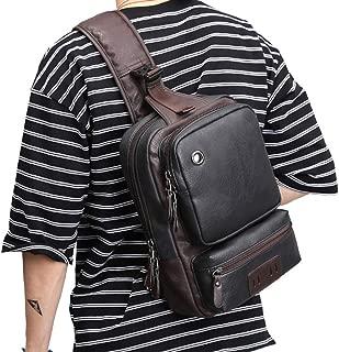 AOLIDA Men Sling Bag PU Leather Unbalance Chest Shoulder Bags Casual Crossbody Bag Travel Hiking Daypacks