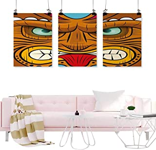 Decor Painting Calligraphy Tiki Bar,Cartoon Style Angry Looking Tiki Warrior Mask Colorful Icon Totem Culture Print,Multicolor Room Wall Pictures Canvas Painting