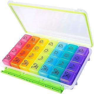 RWM Pill Organizer, Moisture-Proof Portable Travel 4 Times 7 Day Large Medicine Planner Box for Vitamins Fi...