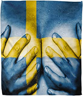 Suike Throw Blanket 50 X 60 Inches Luxury Flannel Girl Sweaty Upper Part of Female Body Hands Covering Breasts Flag Sweden Sexy Microfiber Soft Cozy Warm Wrinkle Resistant Couch Bed Throws