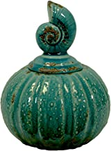Urban Trends Ceramic Canister Nautilus of Shell Collection, Gloss Teal