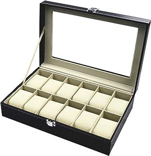 TECHVIDA Relojes Caja de Reloj con 12 Compartimentos para Joyería Caja Organizador Oficina Escritorio Armario Negro Caja d...