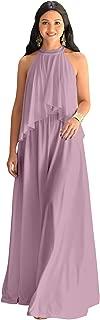 Womens Long Sleeveless Halter Layered Flowy Cocktail Summer Maxi Dress
