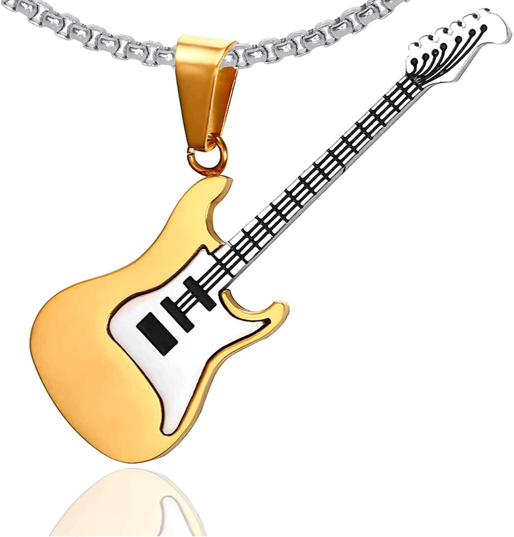 Xusamss Punk Titanium Steel Guitar Music Pendant Necklace,24inches Link Chain