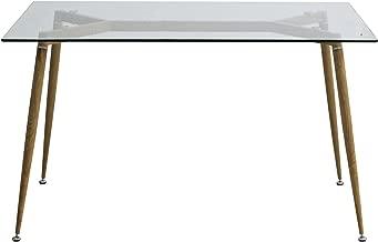 EBS Retro Mesa de Comedor Mesa de Cristal Patas de Metal Imitación Madera Templado Cristal