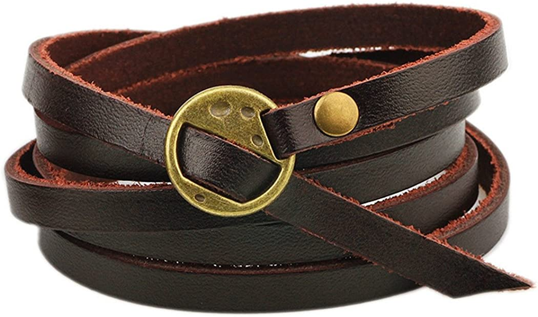 MORE FUN Multilayer Design Dark Brown Leather Cuff Bangle Thin Leather Rope Wristband Bracelet
