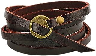 MORE FUN Multilayer Design Dark Brown Leather Cuff Bangle...