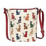 Signare Tapisserie Kleine Tasche Damen, Handtasche Damen Klein, Reisepass Tasche, Mini Handtasche (Freche Katze)