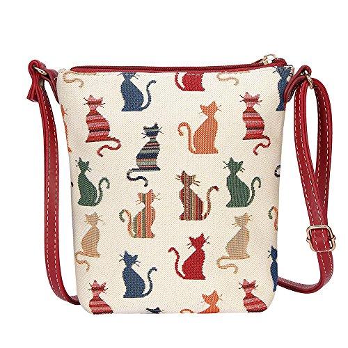 Signare Tapestry Arazzo Piccola Borsa a Tracolla, sacchetto borsello, personal pocket bag (Gatto sfacciato)