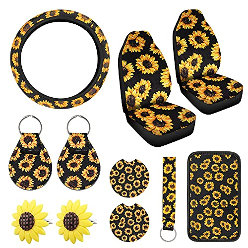11 Pcs Sunflower Accessories with 2 Pcs Car Front Seat Covers, 1 Pcs Car Steering Wheel Cover 1 Pcs...