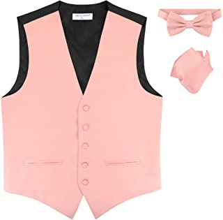 683f950b6bf7 Mens Slim FIT Dress Vest Bowtie Solid Dusty Pink Color Bow Tie Handkerchief  Set