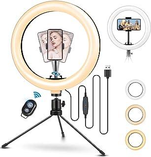 """TVLIVE Aro de Luz 10.2"""" con Tripode, 3 Modos de Luz, 10 Niveles de Brillo 360º Soporte Ajustable Ring Light, Anillo de Luz..."""