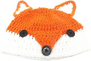 BIBITIME Handmade Knit Fox Beanie with Ears Hat Fun Cosplay Cap for Adult or Kid