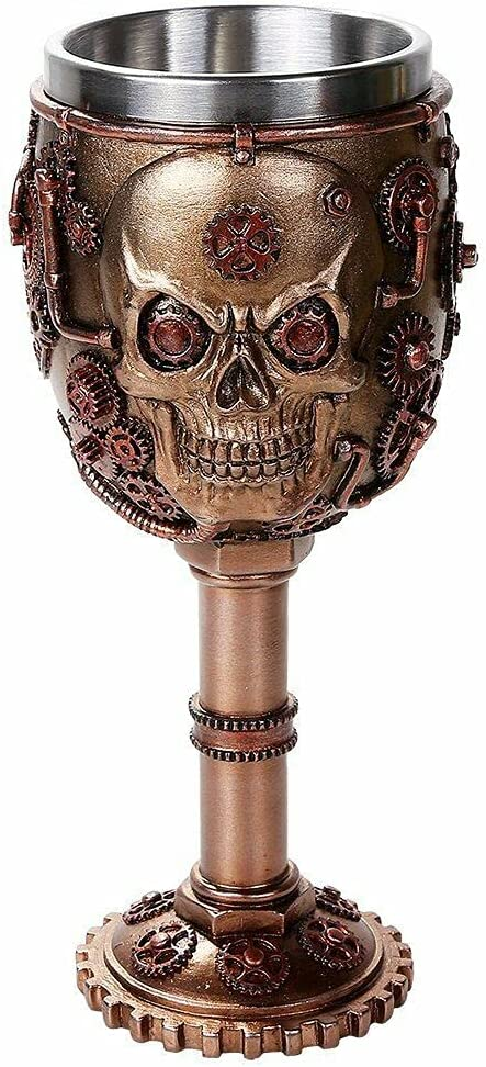 The Decor That is discount Adored Steampunk Metal Deluxe Human Skull Wine Gears