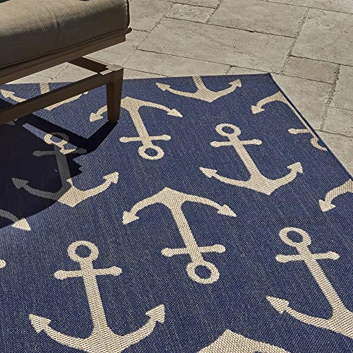Gertmenian 21263 Outdoor Rug Freedom Collection Nautical Themed Smart Care Deck Patio Carpet 8x10 Large, Anchor Navy