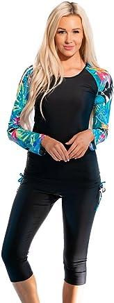 3285f467ea62f Ella Mae Modest Swimsuit for Women: Long Sleeve Rash Guard Swim Shirt & Swim  Capri