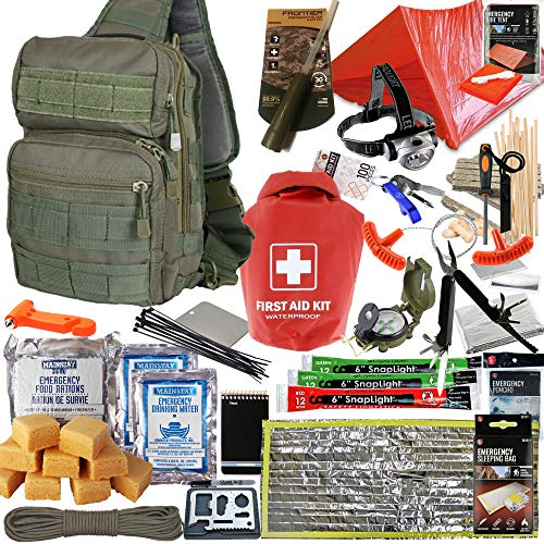 Prepper's Favorite - Emergency Survival and Get Home Sling Bag with First Aid, Water Filter, Food, Fire, Tools and Shelter. Ideal Compact Bug Out Bag, Earthquake Kit or 72 Hr Kit in Tactical Sling
