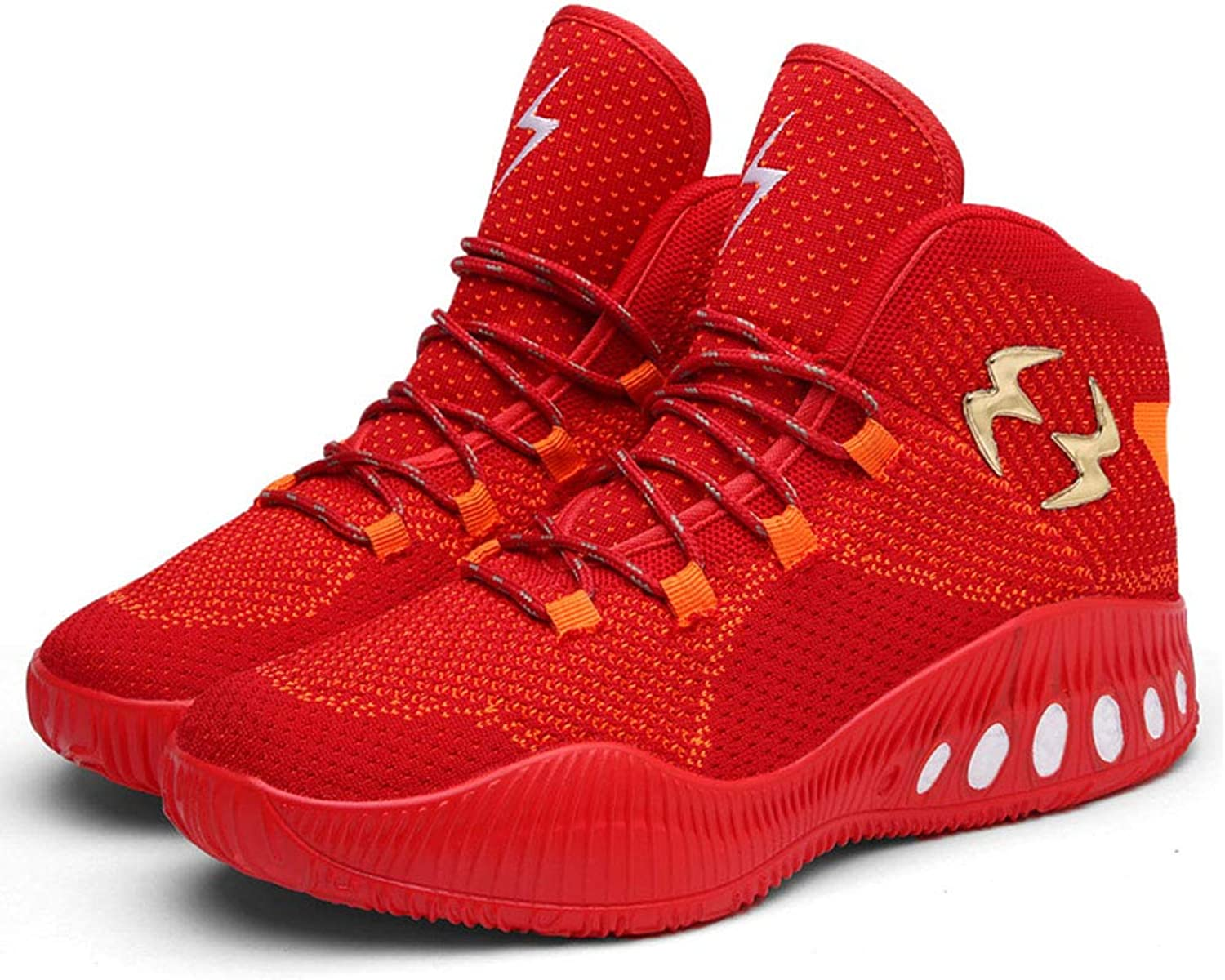 2019 New Men's Sneakers Trend Spring Autumn Mens Casual Sports shoes Large Size Flying Woven High Basketball shoes Running shoes,Red,45
