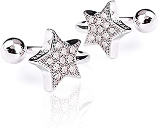 Sterling Silver Plated Cubic Zirconia Beads Sided Hollow Five Pointed Star Charm Clip-on Stud earrings