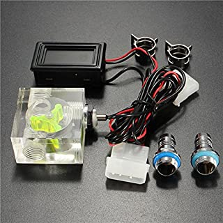 Glowry New DIY Water Liquid Cooling 3 Way Flow Meter Indicator With Blue LED Thermometer G1/4 3/8