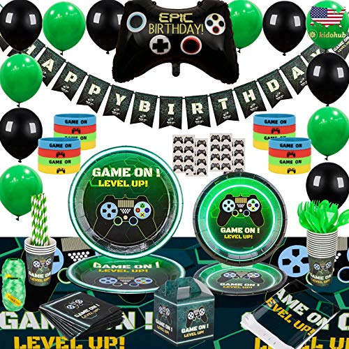 Kidohub Video Game Birthday Party Supplies, Video Game Decorations, Gamer Party Supplies, Party Tableware, Table Cloth, Birthday Banner, Balloons, Favors, Gift Boxes, 185 Pcs Serves 16 Guests