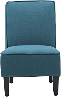 Cushioned Linen Armless Settee Loveseat Sofa Couch Home Casual Living Room Sleeper (One Seat Blue)