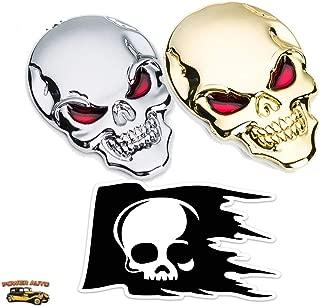 Power Auto Metal Skull Car Emblem - 2 pcs. Skull Head with Red Eyes Emblems 3D Zinc Alloy Peel-N-Stick Plus Skull Skeleton Die-Cut Vinyl Weatherproof Decal Sticker (1 Gold, 1 Silver, 1 Decal)