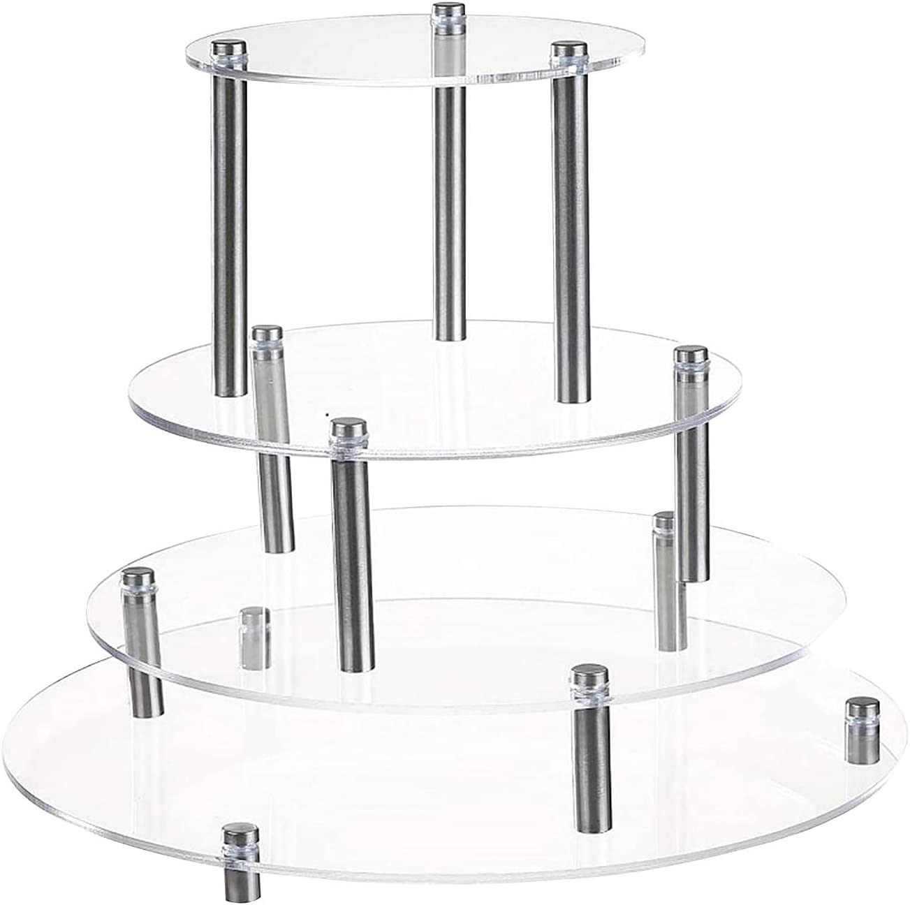 Acrylic Cupcake Stand 4Pcs Round Cu Year-end gift Dessert Translated Display Clear Holder
