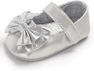 RVROVIC Baby Girls Mary Jane Flats Sparkly Princess Dress Shoes Soft Sole Non-Slip Toddler First Walkers