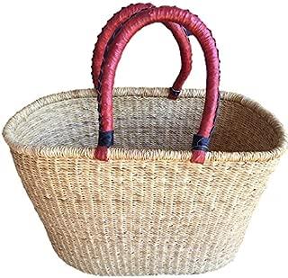 Natural Oval Shopper Basket |Bolga | Ghana Basket | Dye Free | fair Trade | African Basket| (Large: 16