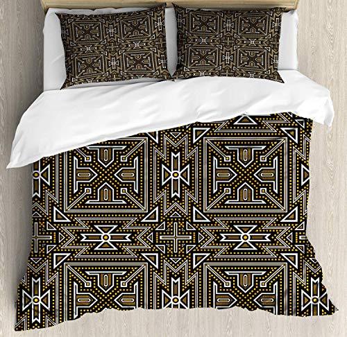 XOXUN Abstraktes Bettbezug-Set, Illustration moderner Quadrate und Dreiecke im Zickzack, dekoratives 3-teiliges Bettwäscheset mit 2 Kissenbezügen, anthrazitfarbenes Erdgelb und Weiß