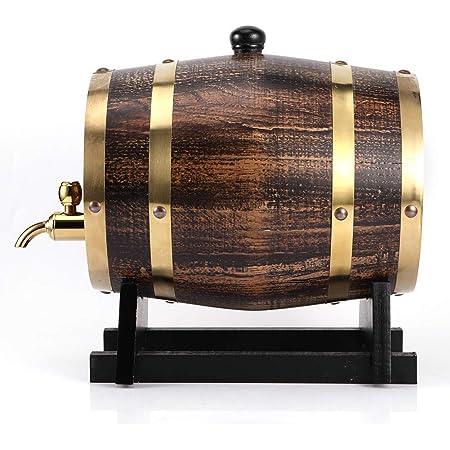 Barril de vino de estilo retro de 3 litros, madera de roble, vino tinto, brandy, barril de whisky casero, dispensador de barril, recipiente con grifo, ...