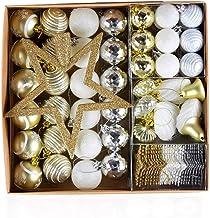 80 Pcs Xmas Ornament Christmas Tree Snowflake Baubles Christmas Balls Decoration Pendant Gold