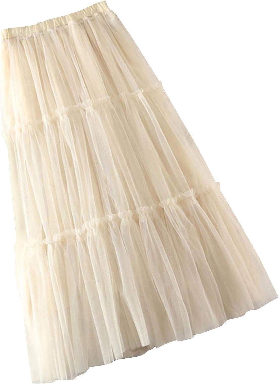 DFGJ Women Spring Summer Elastic High Waist Long Mesh Skirt Womens Casual Gauze Skirt