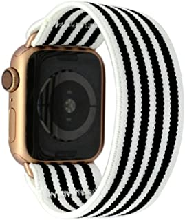 Tefeca Stripe Pattern Elastic Compatible/Replacement Band for Apple Watch 38mm 40mm 42mm 44mm (Gold Adapter for 38mm/40mm Apple Watch, Wrist Size : 6.5-6.9 inch (L3))