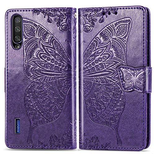 Bravoday Handyhülle für Xiaomi MI A3 Lite Hülle, Stoßfest PU Leder Tasche Flip Hülle Schutzhülle für Xiaomi MI A3 Lite, mit Kartenfäch und Kickstand, Dunkelviolett