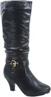 Forever Link FZ-Kale-10 Women's Fashion Buckle Strap Slouch Zipper Low Heel Mid-Calf Boot Shoes