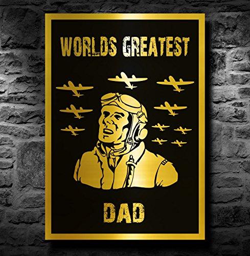 Spitfire/Vliegtuig A4 Metallic Goud Print (Unframed) - Werelden Grootste Vader
